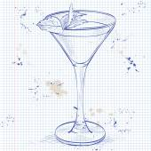 Cocktail alcoholic Stinger on a notebook page