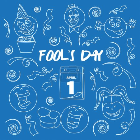 Illustration for Fools day- 1 April. Smile, laugh, joke. Vector illustration, EPS 10 - Royalty Free Image