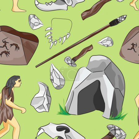 Prehistoric stone age icons set pattern