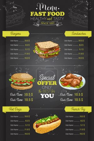 Illustration pour Dessin vertical couleur fast food menu design sur tableau noir - image libre de droit