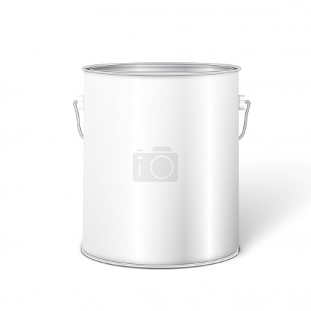 Illustration for White Tall Tub Paint Bucket Container With Metal Handle. - Royalty Free Image