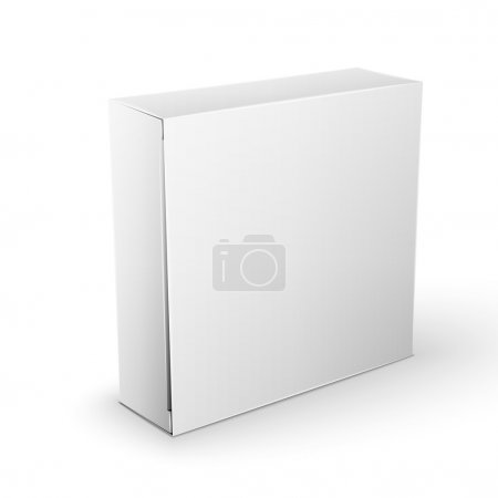 Ilustración de White Product Cardboard square Package Box. Illustration Isolated On White Background. Mock Up Template Ready For Your Design. Vector EPS10 - Imagen libre de derechos