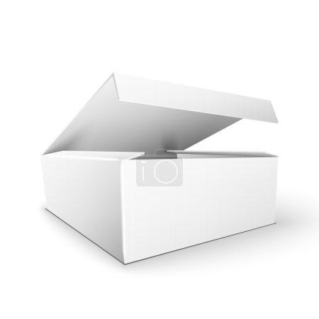 Illustration pour Boîte d'emballage rectangulaire en carton de produit blanc. Illustration isolée sur fond blanc. Modèle maquillé prêt pour votre conception. Vecteur EPS10 - image libre de droit