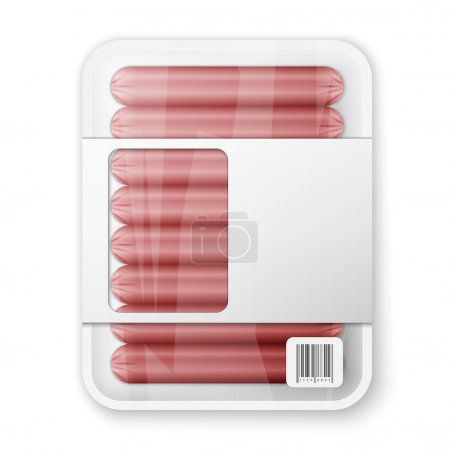 Illustration for Pork sausages in a plastic packaging tray - Royalty Free Image