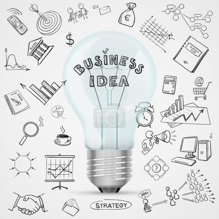 Illustration for Bulb with drawing business success strategy plan idea, excellent vector illustration, EPS 10 - Royalty Free Image
