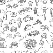 Hand drawn fast food pattern excellent vector illustration EPS 10