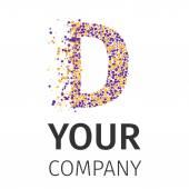 Alphabet particles logotype Letter-D