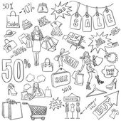 Shopping doodles Sale hand drawn style Excellent vector illustration EPS 10