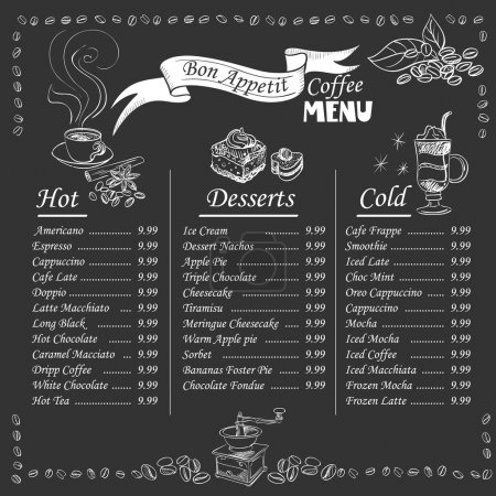 Illustration for Set of coffee menu with a cups of coffee drinks in vintage style stylized drawing with chalk on blackboard. Lettering Know your coffee. excellent vector illustration, EPS 10 - Royalty Free Image