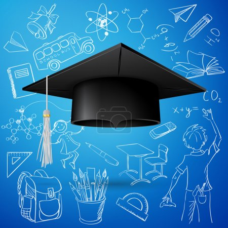 Illustration for Vector Set of Hand Drawn Doodle School Vectors and Graduation Cap - Royalty Free Image