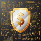 shield with dollar sign and exchange doodle icon