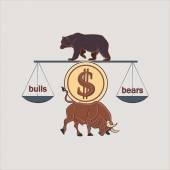 Finance forex Labels Logo with bull and bear excellent vector illustration EPS 10