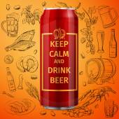 beer can vector illustration and hand drawing icon