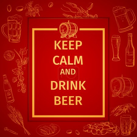 Poster of Keep Calm And Drink Beer and hand drawing icon