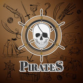 Skull pirate and Hand drawn icon Vector Illustration with sample text