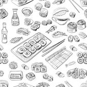 Sushi and rolls seamless pattern excellent vector illustration EPS 10
