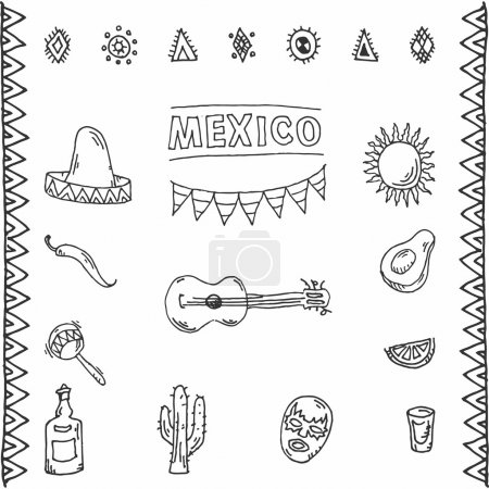 Mexican hand drawn icons set