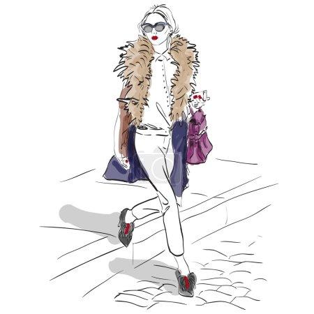 Illustration pour Modèle fashion. Croquis, illustration de l'excellent vecteur, Eps 10 - image libre de droit