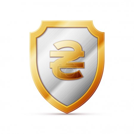 Illustration for Illustration of an isolated shield with a Hryvnia sign - Royalty Free Image