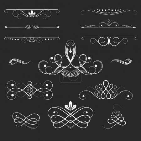 Illustration for Vintage Vector Decorative Elements, calligraphic design elements and page decoration, exclusive, highest quality, retro style set of ornate floral patterns template - Royalty Free Image