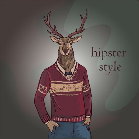 Hand Drawn Vector Illustration of Deer Hipster