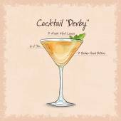 Derby is a cocktail that contains gin peach bitter and mint leaves