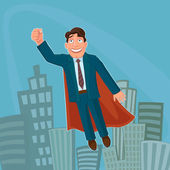 Businessman Superhero Successful strong and clever Excellent vector illustration EPS 10