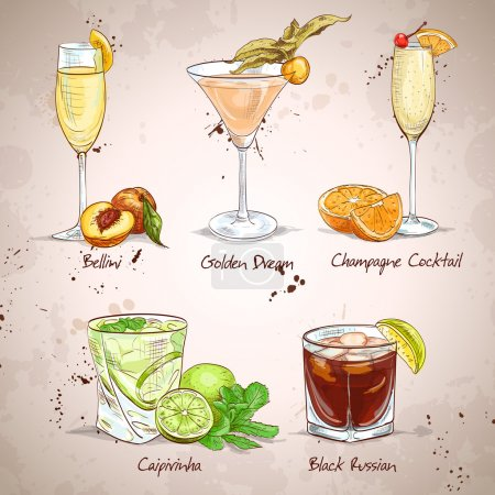 Illustration pour Contemporary Classics Coctail Set, excellente illustration vectorielle, EPS 10 - image libre de droit