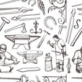 Seamless pattern with objects on blacksmith theme