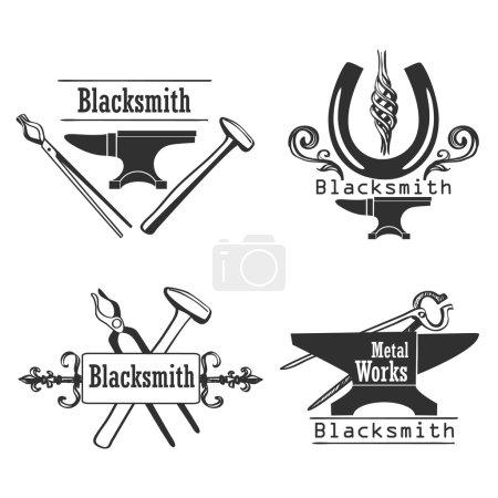 Set of vintage monochrome blacksmith labels and design elements.