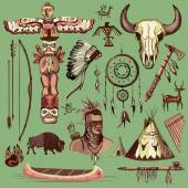 Collection of hand drawn wild west american indian icons