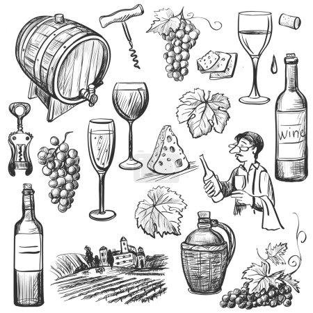 Illustration pour Ensemble de vin vectoriel croquis dessiné à la main. Objets de vin : bouteille, verre, tonneau, raisin, tire-bouchon, sommelier - image libre de droit