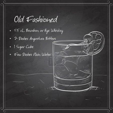 Illustration pour Cocktail à l'ancienne, composé de Bourbon, Angostura amer, cubes de sucre, quelques gouttes d'eau, glaçons, orange, cerise marasquin sur carton noir - image libre de droit