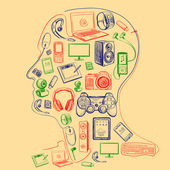 Electronic gadget colors icons in man head
