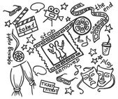 Vector hand drawn set of objects and symbols on the cinema theme