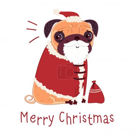 Pug in a Santa suit
