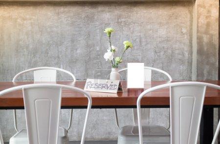 Mock up frame on table in bar restaurant cafe