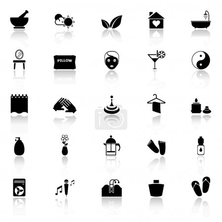 Illustration for Massage icons with reflect on white background, stock vector - Royalty Free Image