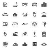 Pohostinství obchodní linie ikony na bílém pozadí