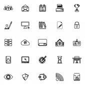 Obchodní řízení linie ikony na bílém pozadí