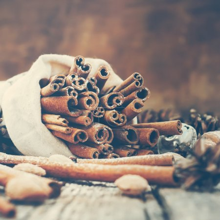 Sticks of Cinnamon in Vintage Christmas Composition on Wooden Background
