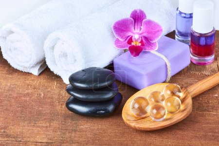 Set of spa items on wooden background