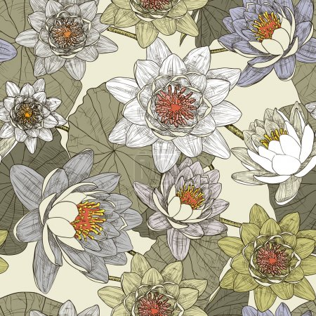 Seamless pattern with blooming water lilies