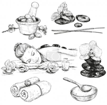 Illustration for Spa sketch set. Beauty hand drawn illustrations - Royalty Free Image