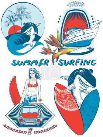 Set of Surfing Design badges and emblems