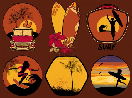 Surfing Design beach and ocean style badges and emblems