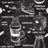 seamless pattern with coffee menu