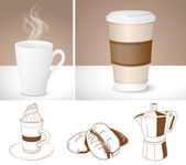 realistic coffee cups and outlines of Coffee maker latte and co