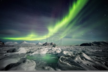 Unusual Arctic winter landscape - Frozen fjord & Northern Lights
