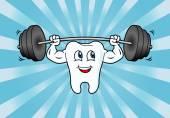 Cartoon Tooth Character Lifting Weights